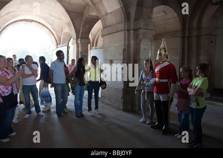 Queen's Life Guard & Tourists - Horse Guards Parade - London - Stock Photo