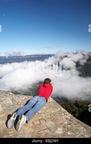 View from Kings Tableland over Clouds in Jamison Valley Blue Mountains New South Wales Australia - Stock Photo