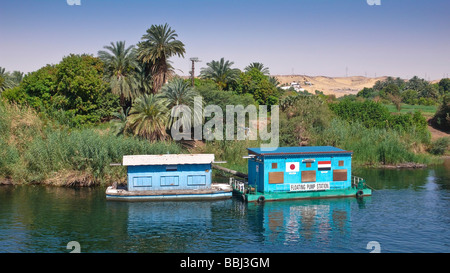 Water pumping station swimming on the Nile at Aswan, Egypt, Africa - Stock Photo