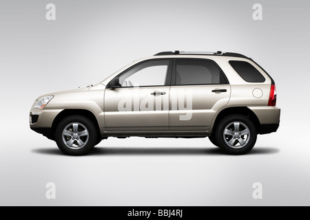 2009 Kia Sportage 4X in Gold - Drivers Side Profile - Stock Photo