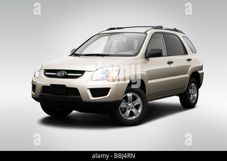 2009 Kia Sportage 4X in Gold - Front angle view - Stock Photo