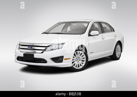 2010 Ford Fusion Hybrid in White - Front angle view - Stock Photo