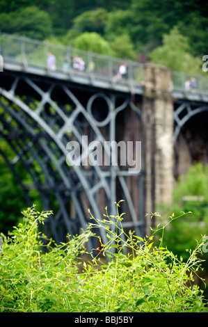 The world's first Iron Bridge over the River Severn at Ironbridge, Shropshire, England - Stock Photo