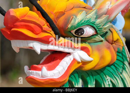 Figure of a dragon, made of wood, Phu Quoc, Vietnam, Asia - Stock Photo