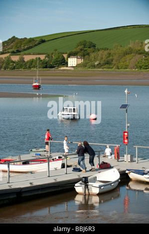 St Dogmaels Llandudoch boats moored on the river Teifi Wales UK - Stock Photo