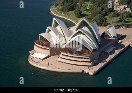 Sydney Opera House and Royal Botanic Gardens Sydney New South Wales Australia aerial - Stock Photo