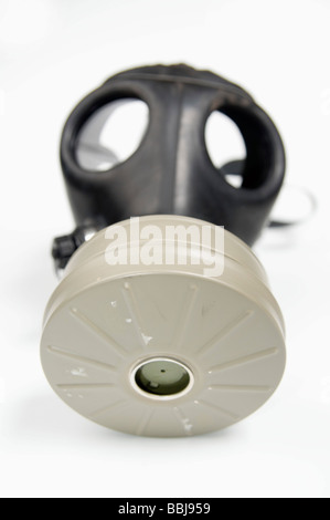 Cutout of a Gas Mask on white background front view - Stock Photo