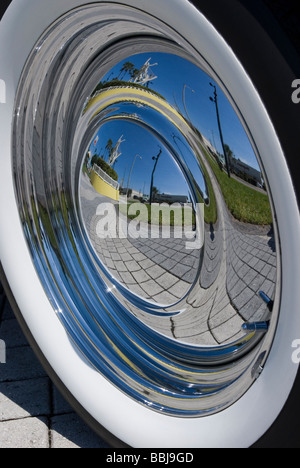Reflection in car hubcap  Stock Photo