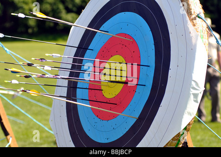 Target with arrows in at a tournament, UK - Stock Photo