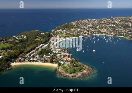 Camp Cove left and Laings Point Reserve Watsons Bay Sydney Harbour Sydney New South Wales Australia aerial - Stock Photo
