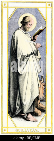 Luke, Disciple of Jesus and author of biblical Gospel of Luke. Hand-colored engraving - Stock Photo