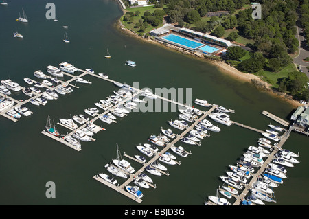 Westport Marina Cabarita Swim Centre Cabarita Park Parramatta River Sydney New South Wales Australia aerial - Stock Photo