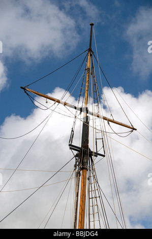Mast detail of one of the tall ships anchored at Charlestown in Cornwall, England, UK - Stock Photo