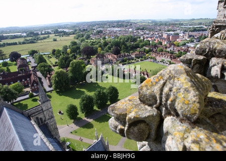 View of Salisbury from the spire of Salisbury Cathedral, Wiltshire, England - Stock Photo