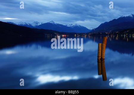 Millstaetter See, Millstatt Lake, evening mood, Millstatt, Carinthia, Austria, Europe - Stock Photo