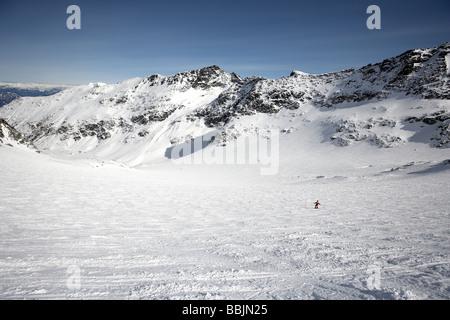 Skiing down Blackcomb Glacier Blackcomb mountain Whistler - Stock Photo