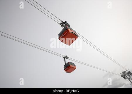 Peak 2 Peak gondola travels 4 4km between Whistler and Blackcomb mountains - Stock Photo