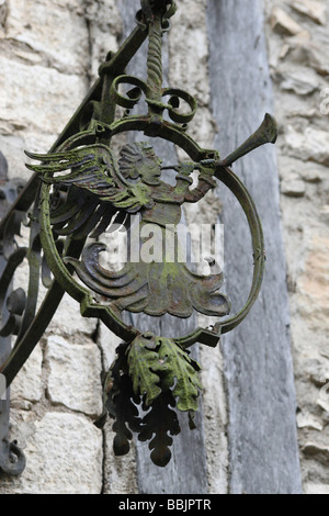 Angel Metalwork Decoration On A House In The Village Of Saint-Cirq Lapopie Beside The River Lot, Midi Pyrenees, - Stock Photo