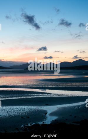 Sunset over Seilebost beach, Seilebost, Isle of Harris, Outer Hebrides, Scotland, UK - Stock Photo