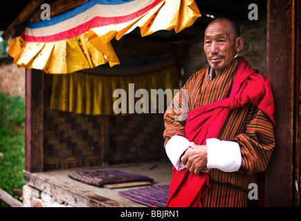 Performer at Domkhar Festival - Domkhar Village, Bumthang, Bhutan - Stock Photo