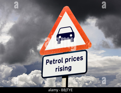 Concept sign showing Petrol fuel prices rising, inflation / costs, cost of living concepts, UK - Stock Photo