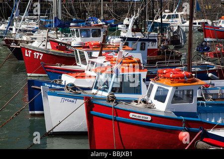 Close up view of boats in the harbour at Tenby, Pembrokeshire, Wales - Stock Photo