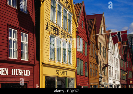Historic wooden houses of Bryggen, the medieval German Wharf of Hanseatic merchants in Bergen, Norway. - Stock Photo