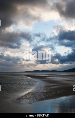 Sunset and storm clouds over Isle of Harris, Luskentyre beach, Outer Hebrides, Scotland - Stock Photo