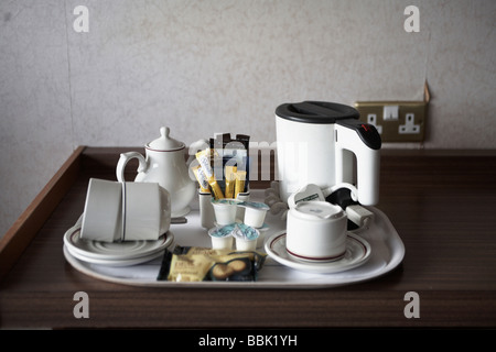 Plain hotel tea and coffee tray in low grade scottish hotel room in Glasgow