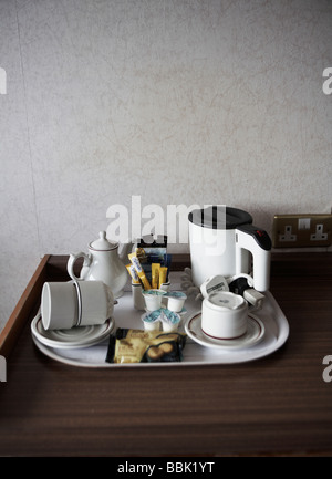 White tea and coffee tray in Scottish hotel room