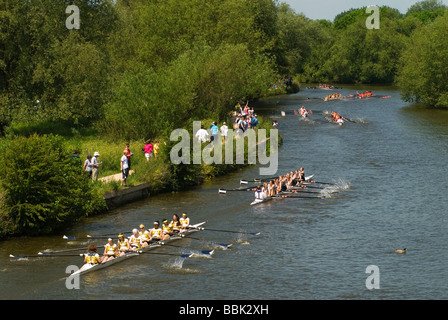 Oxford University Rowing Clubs Eights Week Rowing races on the River Isis actually River Thames in Oxford Oxfordshire - Stock Photo