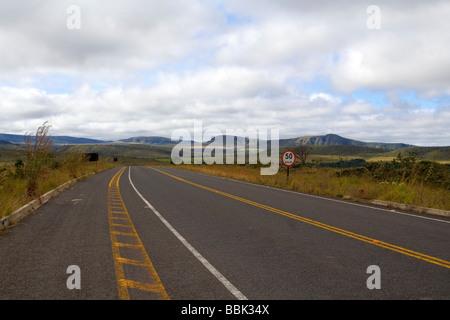 Road from Povoado de São Jorge (Saint George Village) to Alto Paraiso Goiás Brazil South America - Stock Photo