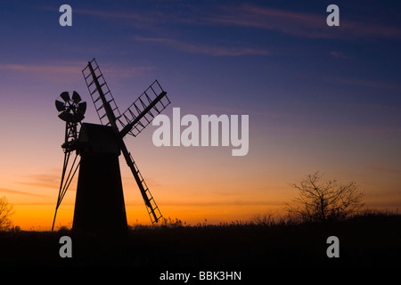Turf Fen Mill on the River Ant, Ludham, Norfolk Broads N.P., at sunset - Stock Photo