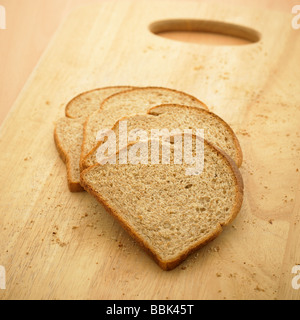 Slices of High in Fibre Wholemeal Brown Bread. - Stock Photo