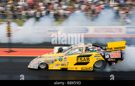 Top Methanol Funny Car dragster Esab driven by Leif Andreasson at the FIA European Drag Racing Championship at Santa - Stock Photo