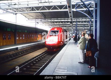 Thalys high speed TGV train europe Belgium Germany rail modern - Stock Photo