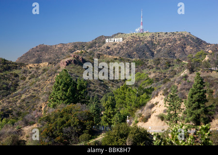 The Hollywood sign from Griffith Observatory Los Angeles California - Stock Photo