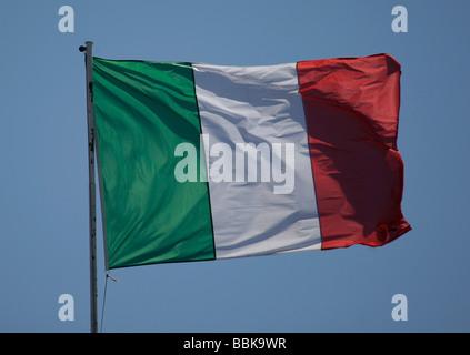 Italian flag on a flagpole - Stock Photo