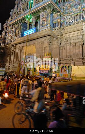North tower of Sri Minakshi Temple in Madurai at night. India, Tamil Nadu, Madurai.  No releases available. - Stock Photo