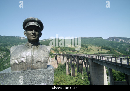 Memorial at the Tara bridge, Durmitor national park, Montenegro, Balkans - Stock Photo