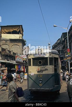 India,Calcutta, now Kolkata, India., very beaten-up tram - Stock Photo