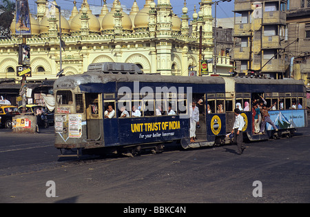 Calcutta, now Kolkata, India, tram in front of Tipu Sultan's Mosque - Stock Photo