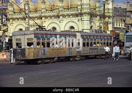 Calcutta, now Kolkata, India, tram in front of Tipu Sultan's Mosque - Stock Photo