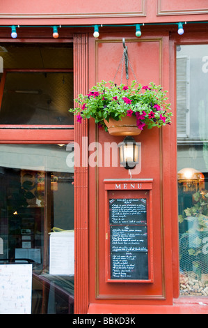 generic outdoor menu on restaurant cafe wall in latin quarter of paris france - Stock Photo