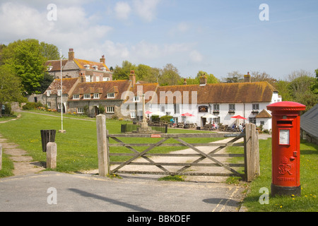 village green in east dean village in east sussex - Stock Photo