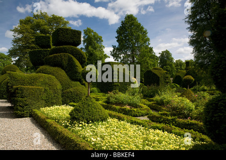 Levens Hall and its famous topiary gardens in the Lake District - Stock Photo