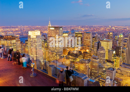 View of Midtown Manhattan from Top of the Rock 30 Rockefeller Center, New York City. - Stock Photo