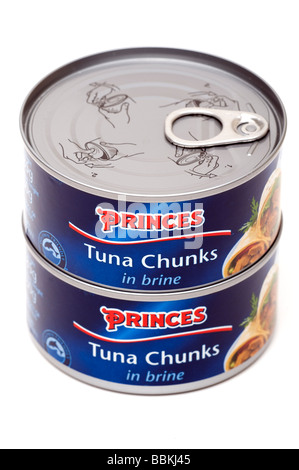 Two stacked tins of Princes Tuna Chunks in Brine - Stock Photo