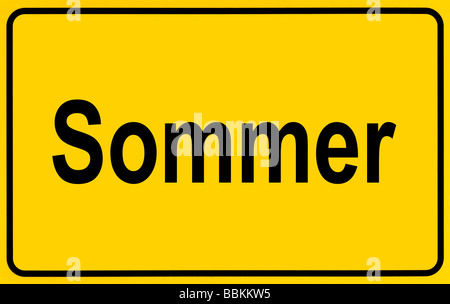 Town sign, German lettering Sommer, symbolic of beginning of summer - Stock Photo
