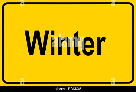 Town sign, lettering Winter, symbolic of beginning of winter - Stock Photo